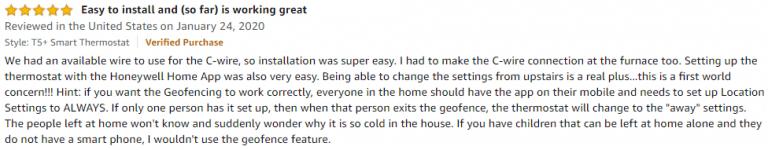 Honeywell T5+ Amazon review