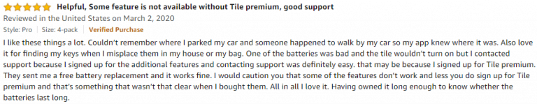 Tile Pro Amazon review 3