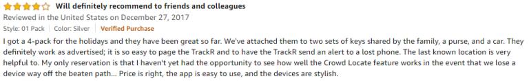 TrackR Bravo Amazon review 2
