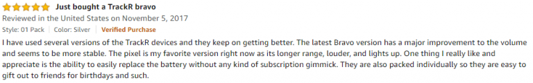 TrackR Bravo Amazon review 3