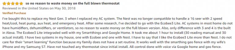 ecobee3 amazon review