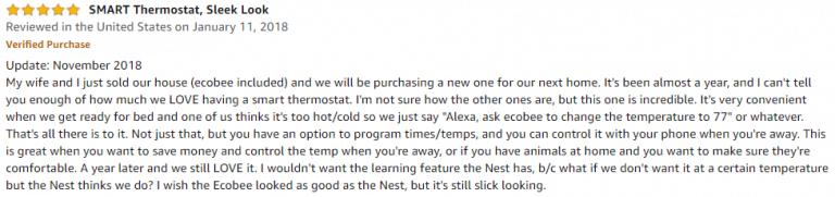 ecobee4 Amazon review