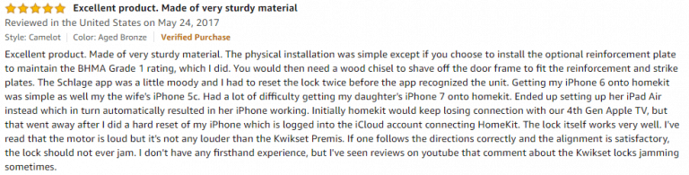 Schlage-Sense-Amazon-review