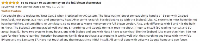 ecobee3 Lite Amazon review
